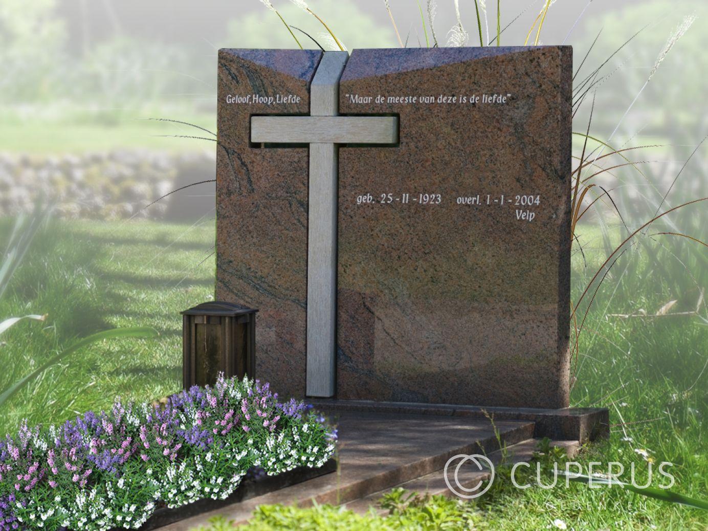 Hedendaags Grafsteen met houten kruis | Cuperus gedenken | 41862 CV-21