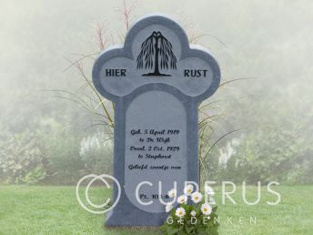 "Traditioneel ""Friese paal"" grafmonument van hardsteen"